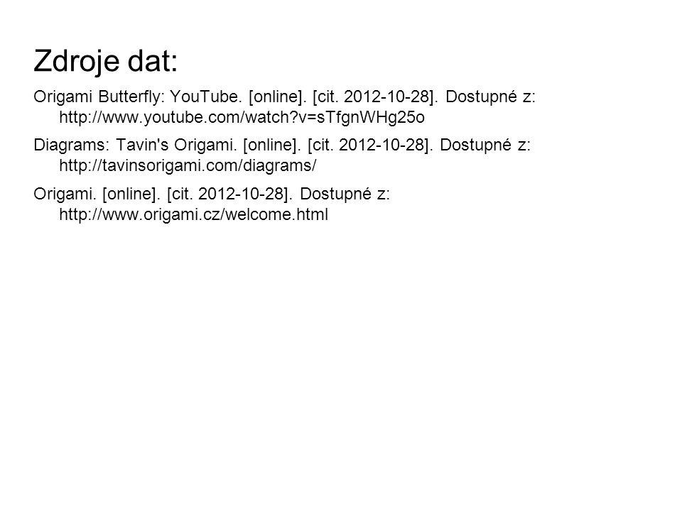 Zdroje dat: Origami Butterfly: YouTube. [online]. [cit. 2012-10-28]. Dostupné z: http://www.youtube.com/watch v=sTfgnWHg25o.